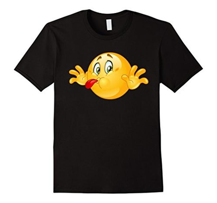 Emoji Naughty Emoticon Sticking out his Tongue T-shirt Black / 3XL T-Shirt BelDisegno