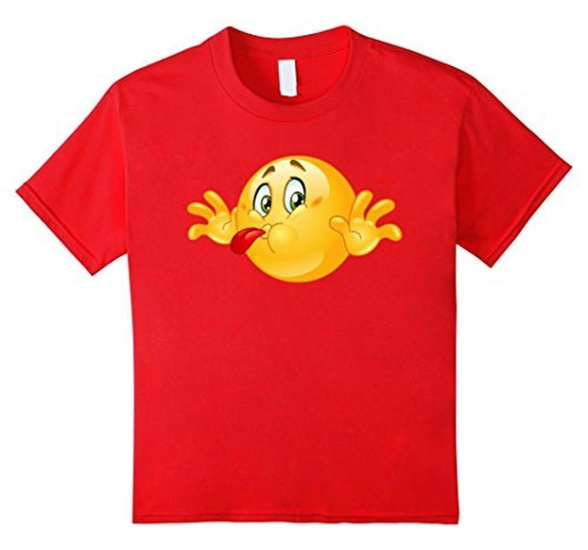 Emoji Naughty Emoticon Sticking out his Tongue T-shirt Red / 3XL T-Shirt BelDisegno