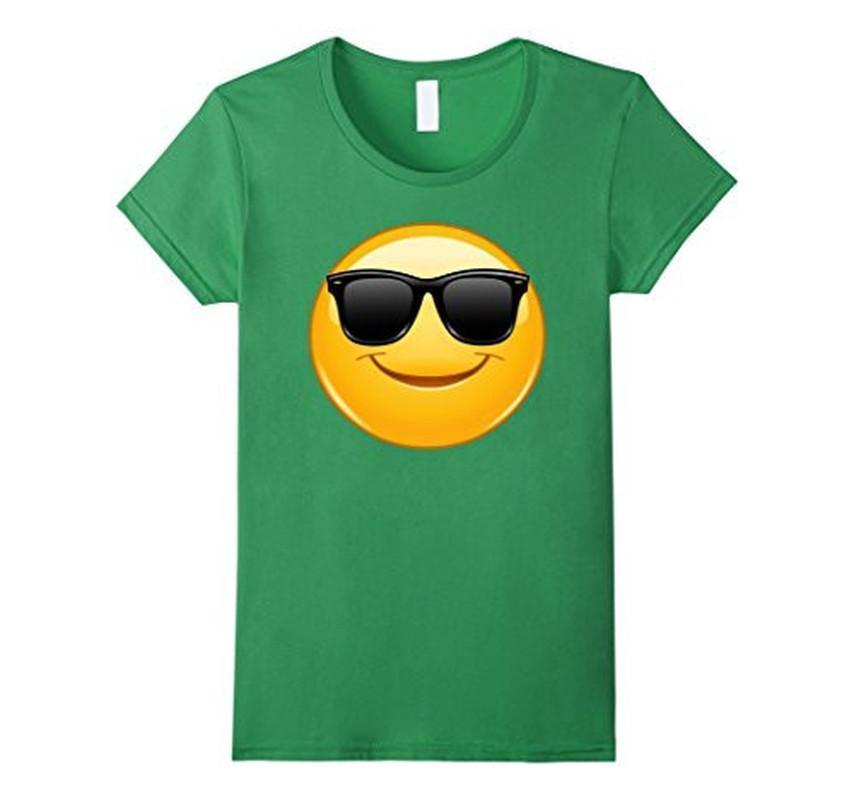 Emoji Smiling Emoticon with Sunglasses T-shirt Grass / 3XL T-Shirt BelDisegno