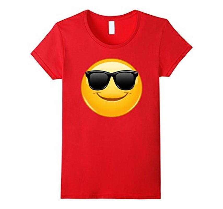 Emoji Smiling Emoticon with Sunglasses T-shirt Red / 3XL T-Shirt BelDisegno