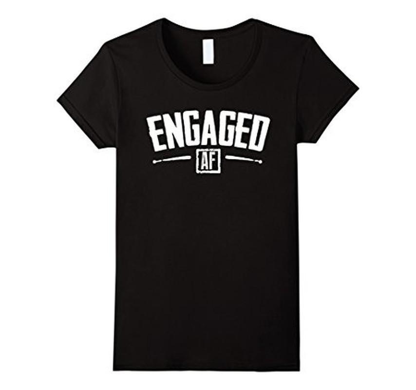 Engaged AF Funny Engagement Bridal Party Gift T-shirt Black / 3XL T-Shirt BelDisegno