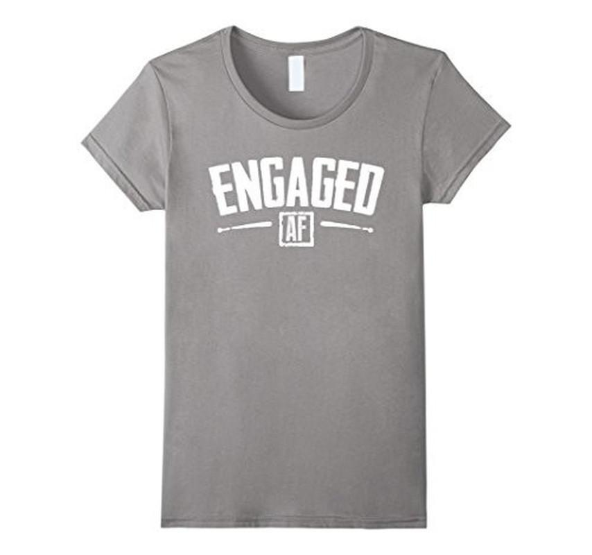 Engaged AF Funny Engagement Bridal Party Gift T-shirt Heather Grey / 3XL T-Shirt BelDisegno