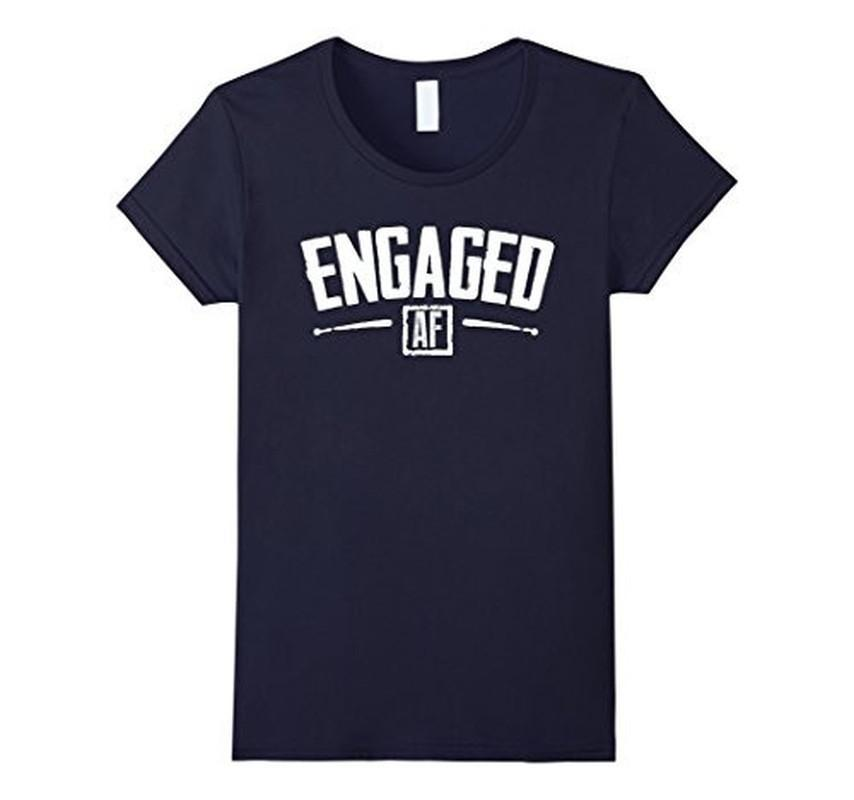 Engaged AF Funny Engagement Bridal Party Gift T-shirt Navy / 3XL T-Shirt BelDisegno