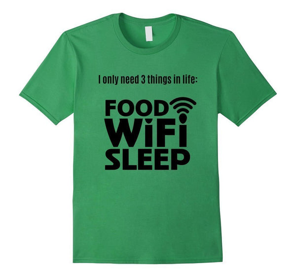 FOOD WiFi Sleep funny t T-shirt Grass / 3XL T-Shirt BelDisegno