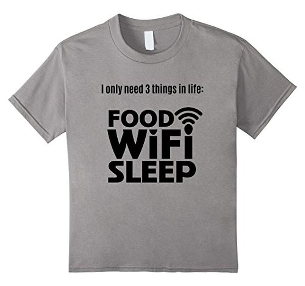 FOOD WiFi Sleep funny t T-shirt Heather Grey / 3XL T-Shirt BelDisegno