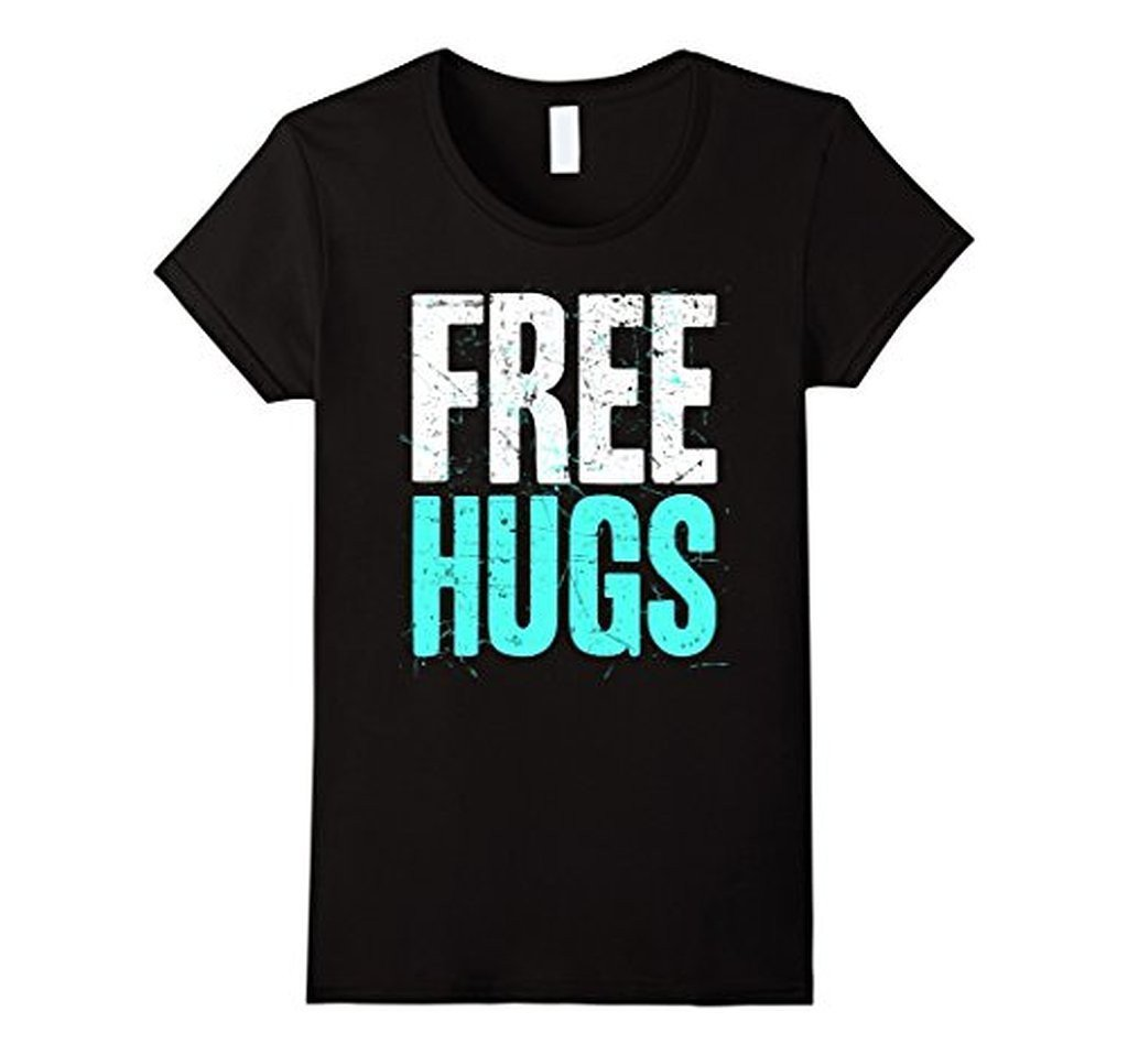 FREE HUGS Cute Funny Optimist Humanist Silly Hugging T-shirt Black / 3XL T-Shirt BelDisegno