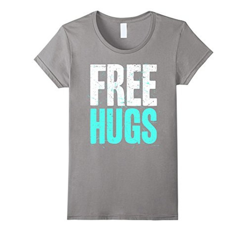 FREE HUGS Cute Funny Optimist Humanist Silly Hugging T-shirt Heather Grey / 3XL T-Shirt BelDisegno