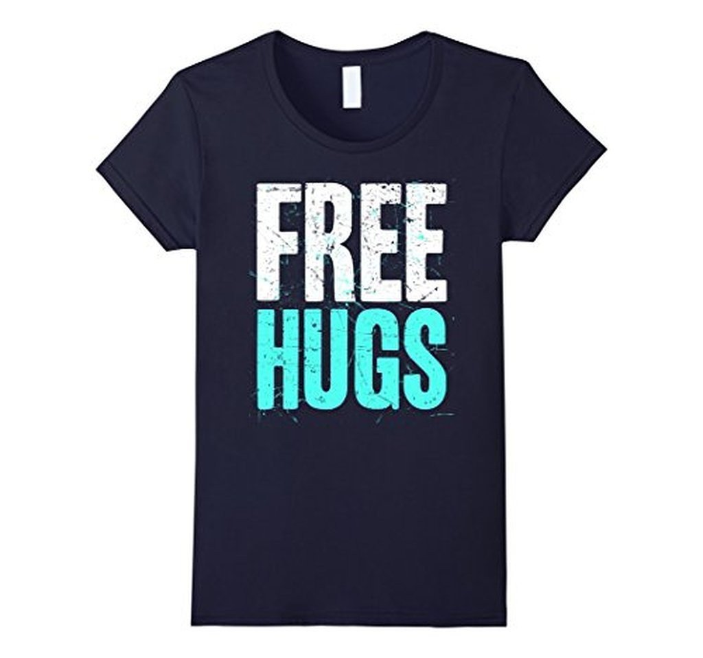 FREE HUGS Cute Funny Optimist Humanist Silly Hugging T-shirt Navy / 3XL T-Shirt BelDisegno