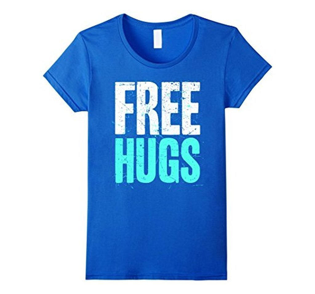 FREE HUGS Cute Funny Optimist Humanist Silly Hugging T-shirt Royal Blue / 3XL T-Shirt BelDisegno