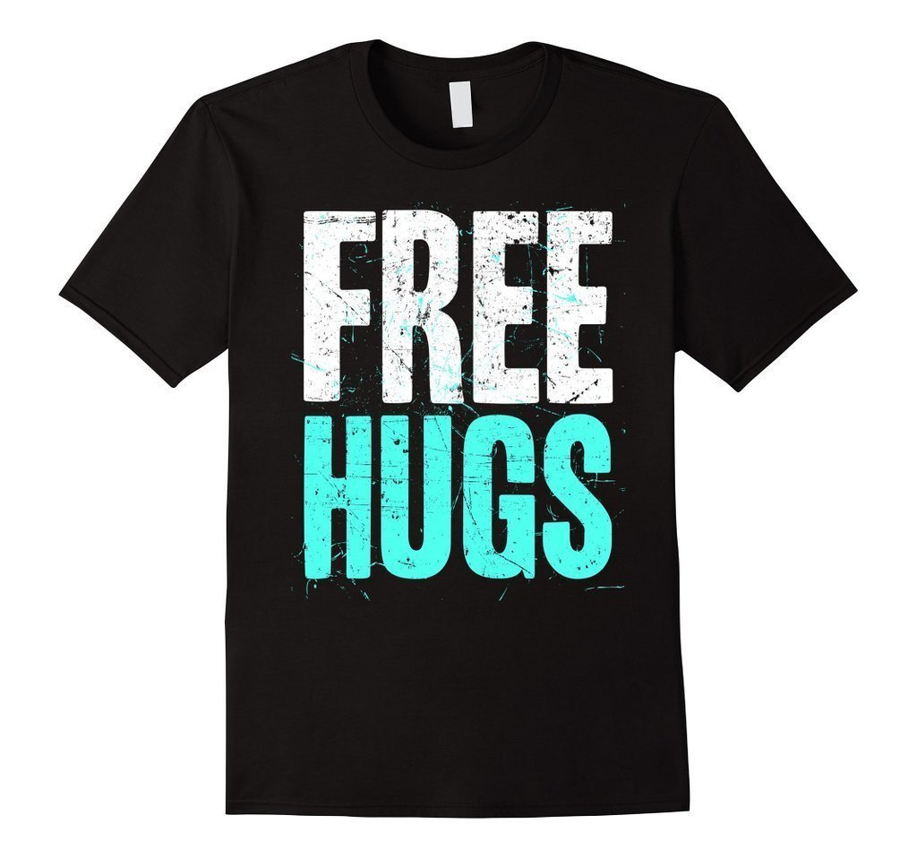 FREE HUGS Cute Funny Optimist Humanist Silly Hugging T-shirt  T-Shirt BelDisegno
