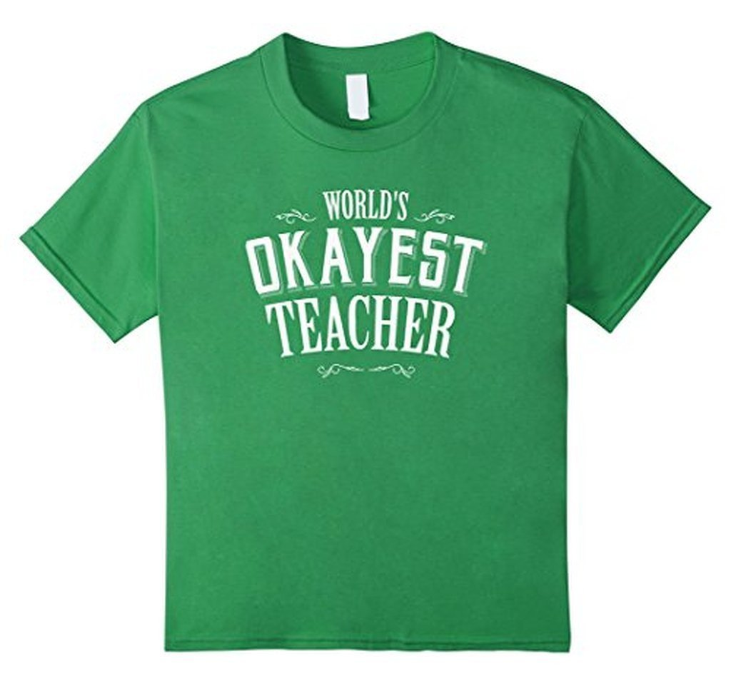 Funny World's Okayest Teacher T-shirt Grass / 3XL T-Shirt BelDisegno