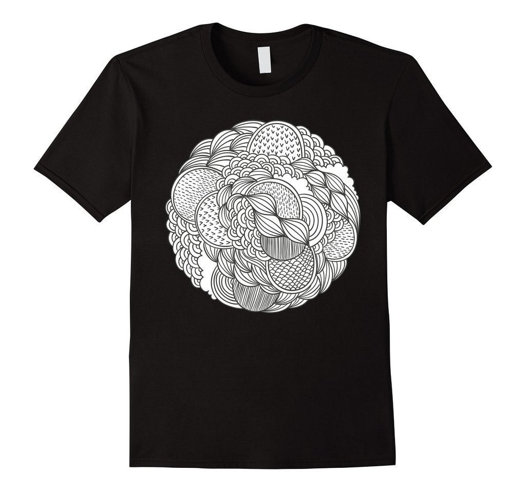 Geometric Coloring for Adults Girls Kids T-shirt Black / 3XL T-Shirt BelDisegno
