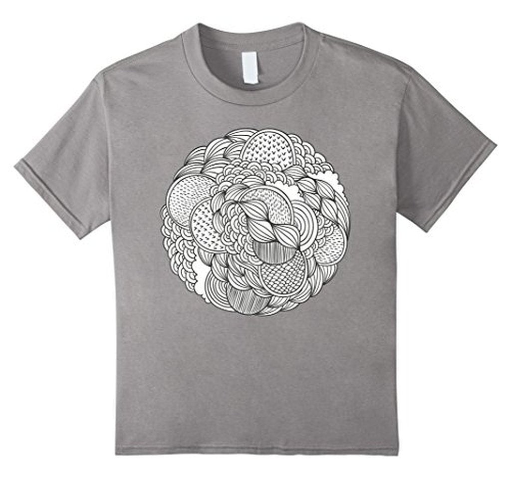 Geometric Coloring for Adults Girls Kids T-shirt Heather Grey / 3XL T-Shirt BelDisegno