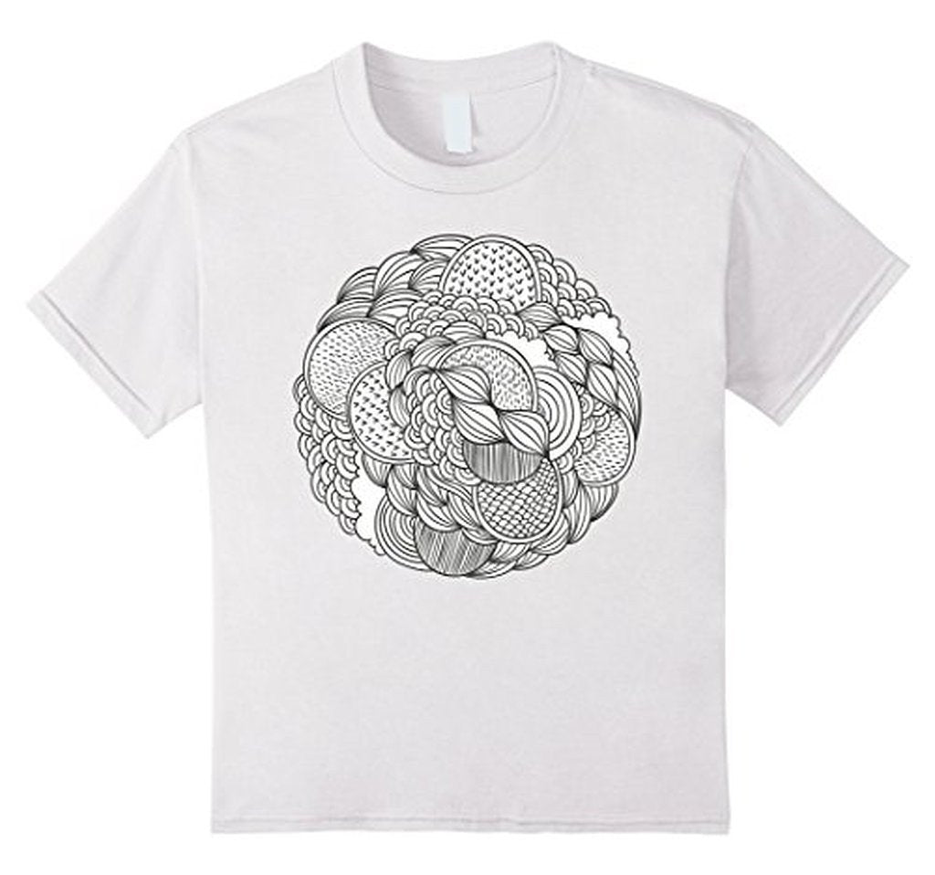 Geometric Coloring for Adults Girls Kids T-shirt White / 3XL T-Shirt BelDisegno