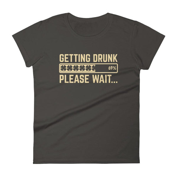 Getting Drunk Shirt Shamrocks Loading... please wait Women's Drinking shirt for St Patrick's day Smoke / 2XL T-Shirt BelDisegno