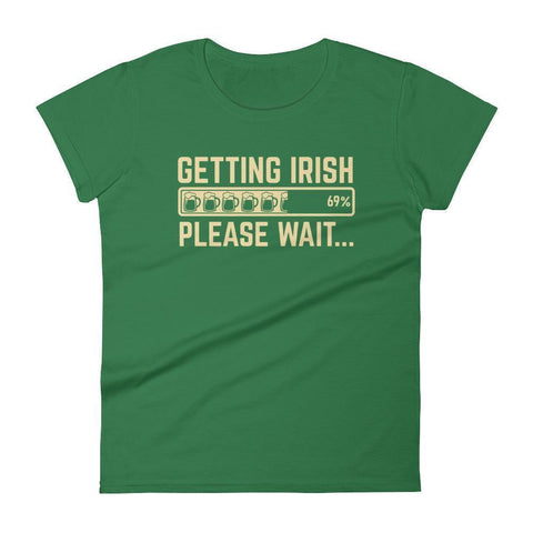 Getting Irish Shirt Beer Loading... please wait Women's Drinking shirt for St Patrick's day-T-Shirt-BelDisegno-Kelly Green-S-BelDisegno