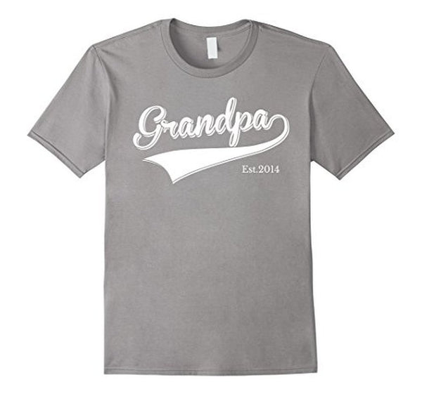 Grandpa Est 2014 Father's Day New Grandpa dad s T-shirt Heather Grey / 3XL T-Shirt BelDisegno