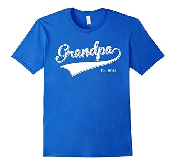 Grandpa Est 2014 Father's Day New Grandpa dad s T-shirt Royal Blue / 3XL T-Shirt BelDisegno