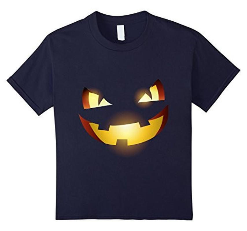 Halloween Scary Pumpkin Face Halloween Costume T-shirt Navy / 3XL T-Shirt BelDisegno