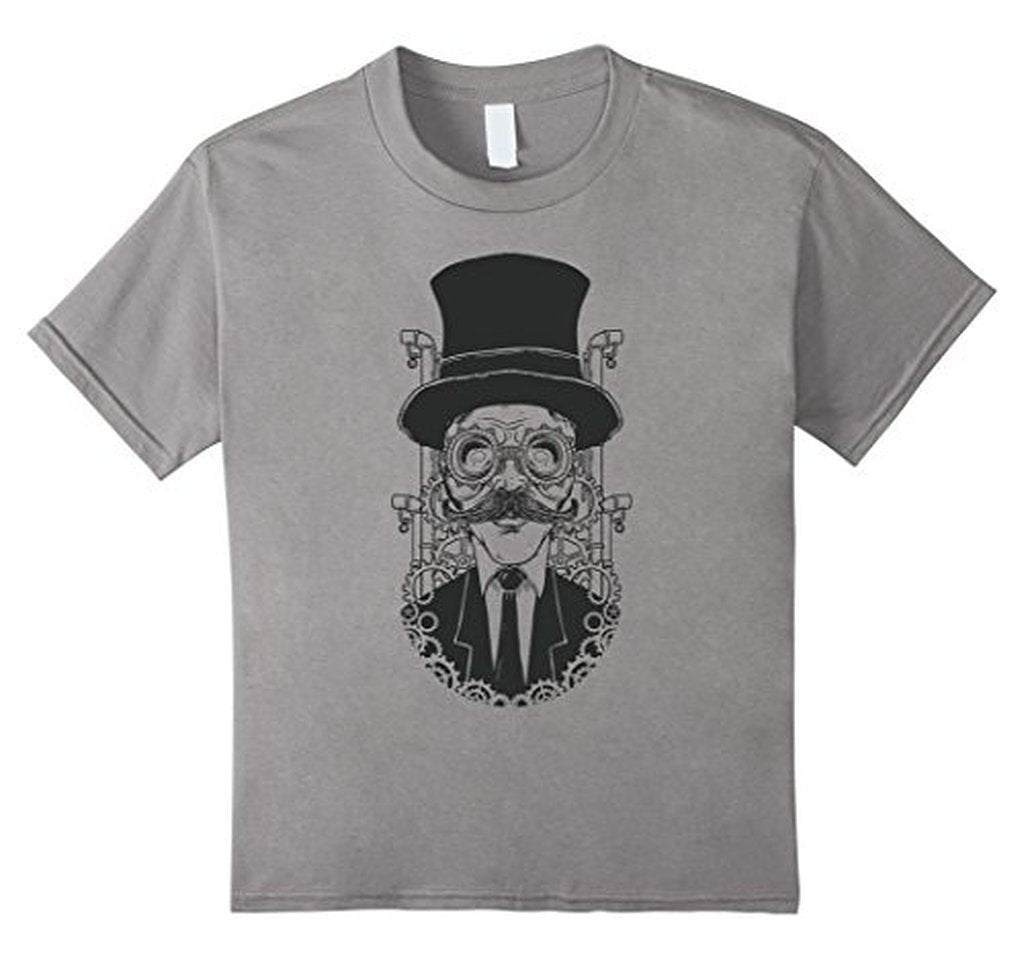 Hand painted steampunk man illustration T funny T-shirt Heather Grey / XL / Women T-Shirt BelDisegno
