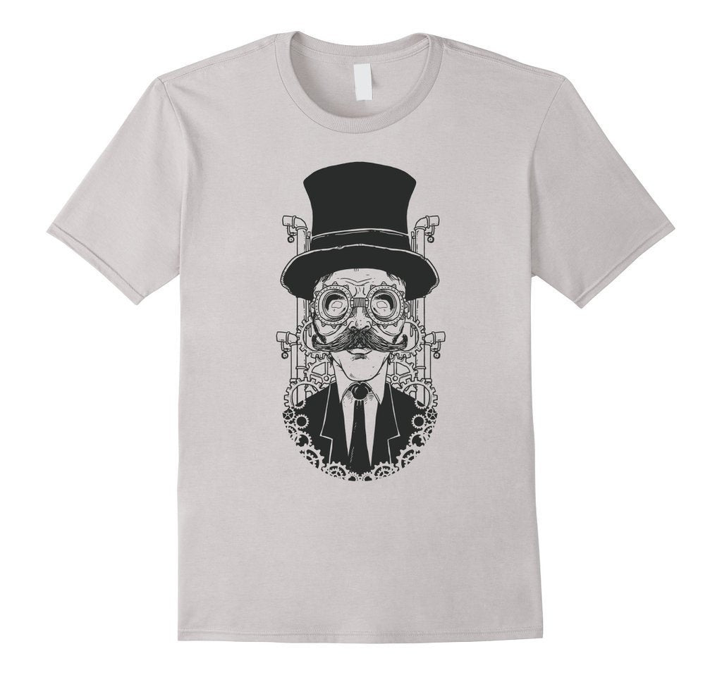 Hand painted steampunk man illustration T funny T-shirt White / XL / Women T-Shirt BelDisegno