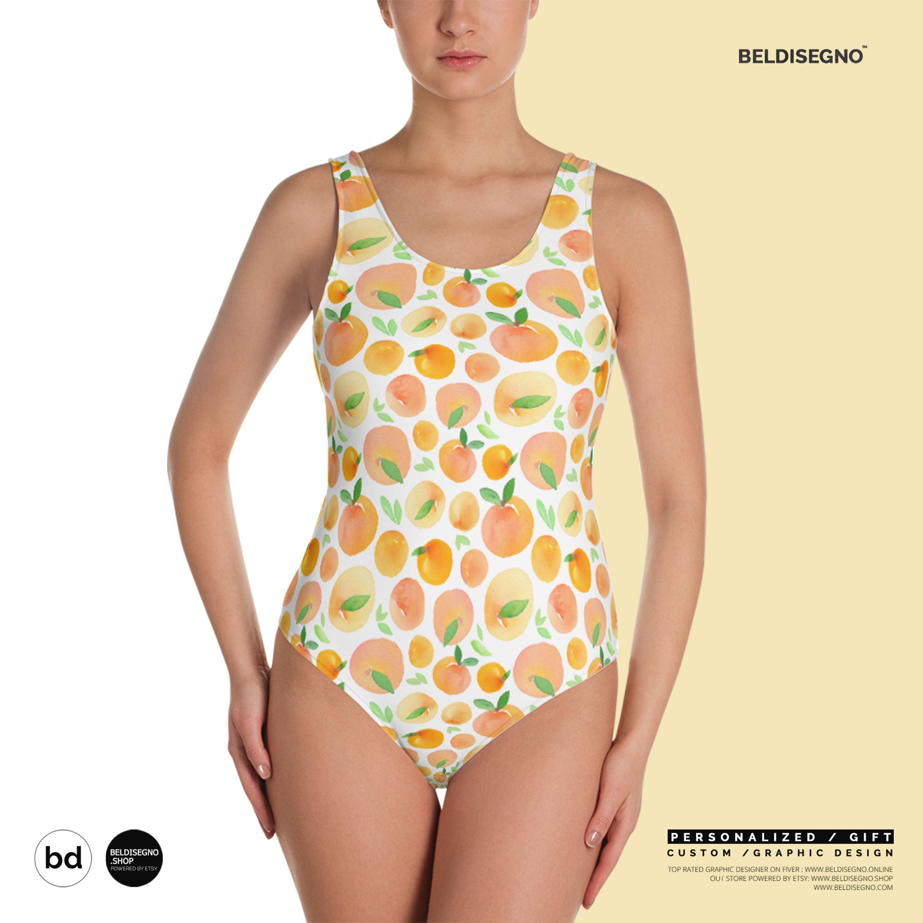One-Piece Swimsuit - Personalized color Custom design Swimsuit with saying quote face photo images dog cat animal pattern   BelDisegno