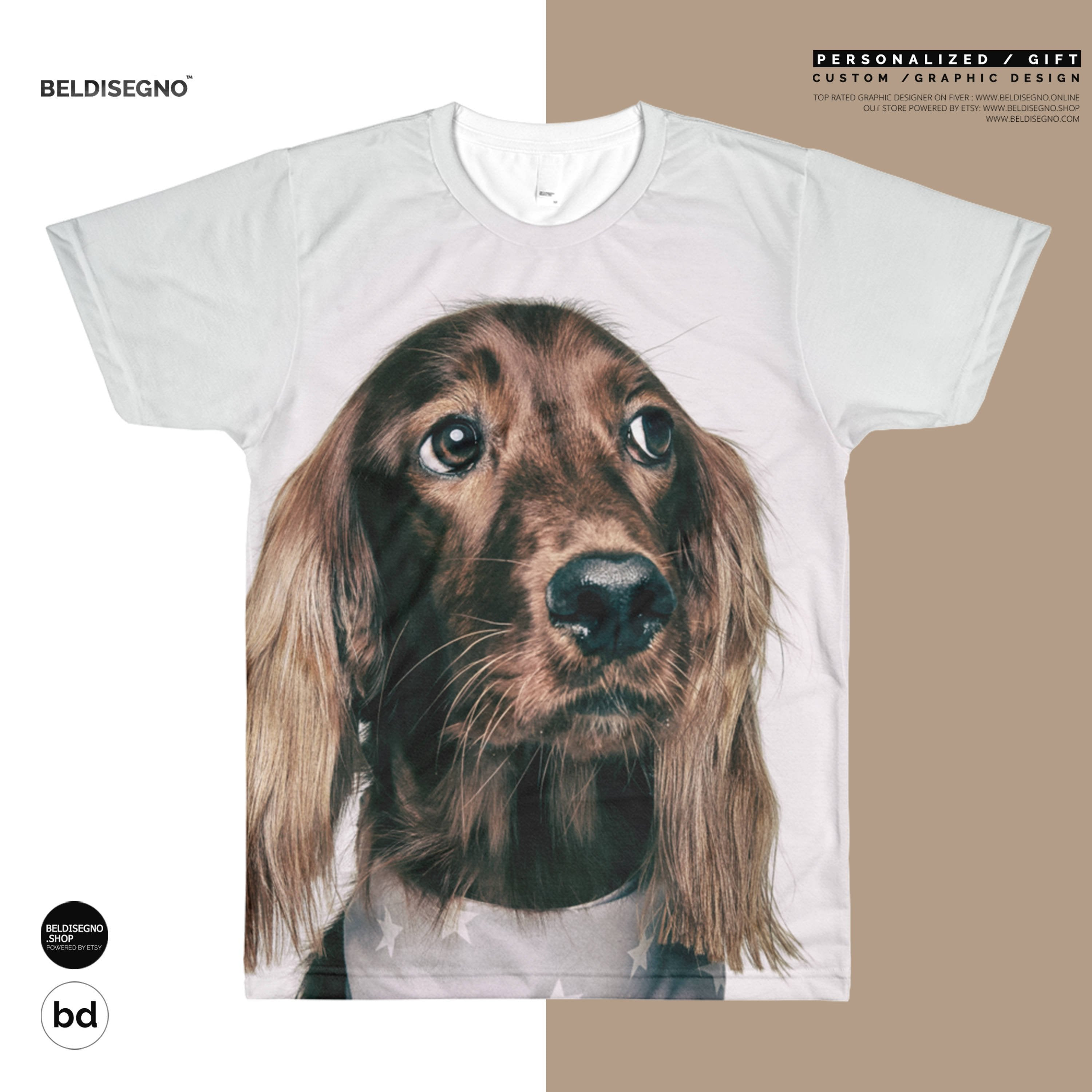Custom All-Over Cut & Sew Men's T-shirt -Personalized Printed T-Shirt - Custom Sublimation T-Shirt - custom dog picture shirt Size: XS, S, M, L, XL, 2X
