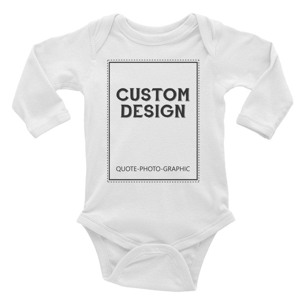 buy Custom logo Baby bodysuits Personalized Infant Long Sleeve Baby Rib Bodysuit - Customize With your photo Logo Graphic custom text quote online at BELDISEGNO for just $22.69 | Primary color Black | Size 6M