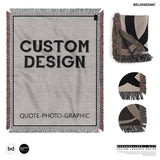 Woven throw Blankets - personalized blanket with Photo Quote Graphic Custom Design Cotton picture Blanket decorative throws for sofas, Wall