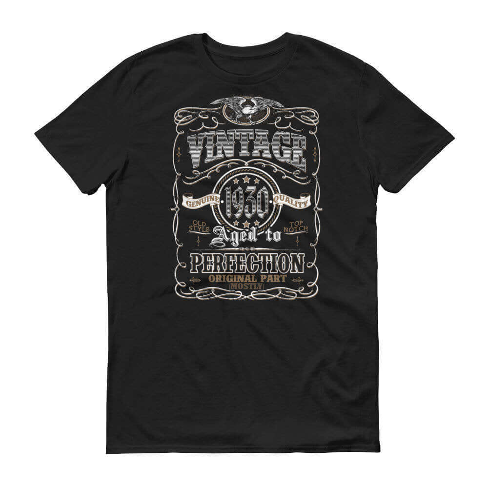 1930 Birthday Gift, Vintage Born in 1930 Unisex t-shirt 90th Birthday Made in 1930  T-shirt, 90 Year Old Birthday Shirt 1930 Collection tee Size: SDesign: #3Color: Black