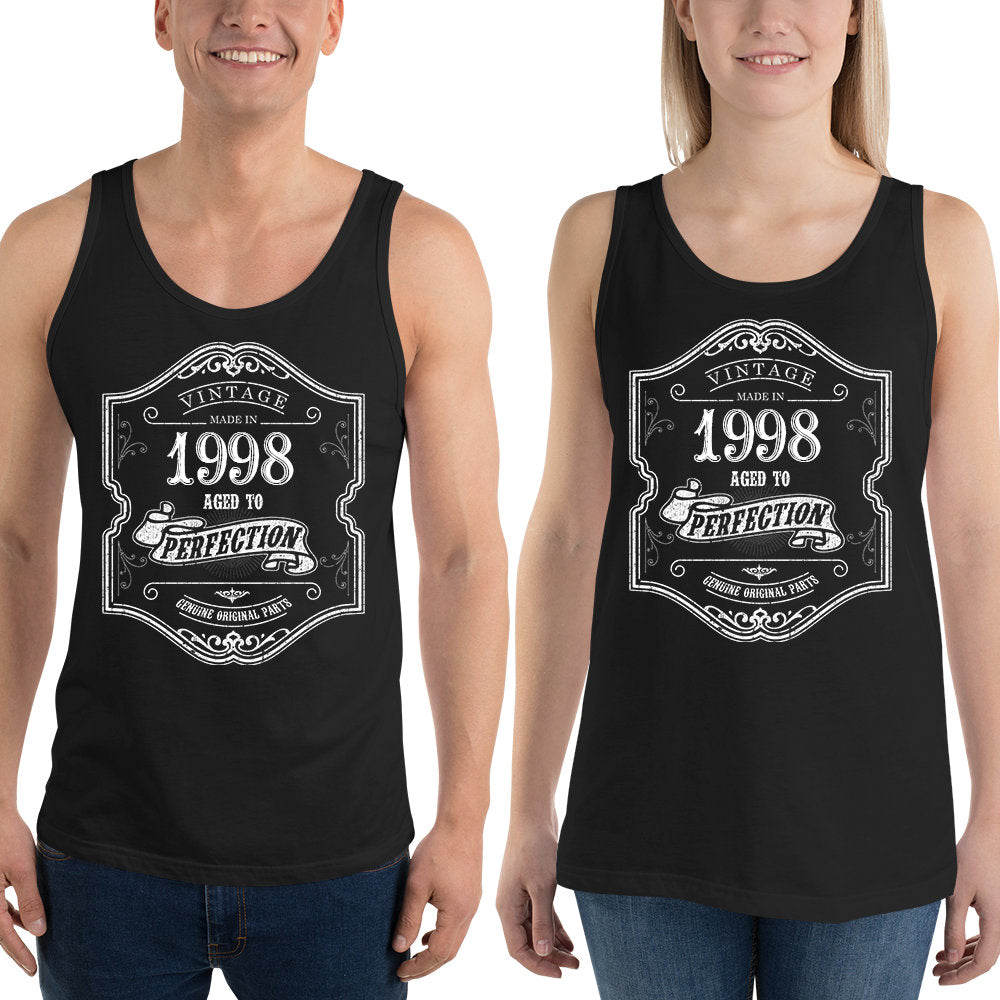 1998 Birthday Gift, Vintage Born in 1998, 22nd Birthday Tank tops for him Her, Made in 1998 Tank tops, 22 Birthday Gift for Men Women Size: XSDesign: #5Color: Black