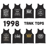 1998 Birthday Gift, Vintage Born in 1998, 22nd Birthday Tank tops for him Her, Made in 1998 Tank tops, 22 Birthday Gift for Men Women Size: XS, S, M, L, XL, 2XDesign: #1, #2, #3, #4, #5, #6, #7, #8Color: Black