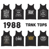 1988 Birthday Gift, Vintage Born in 1988 Tank tops for men women 32nd Birthday shirt for him her Made in 1988 Tanks 32 Year Old Birthday