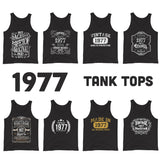 1977 Birthday Gift, Vintage Born in 1977 Tank tops for men women, 43rd Birthday Tanks for him her Made in 1977 Tank top 43 Year Old Birthday