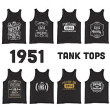 1951 Birthday Gift, Vintage Born in 1951 Tank tops for women men, 69th Birthday shirt for her him, Made in 1951 Tanks, 69 Year Old Birthday