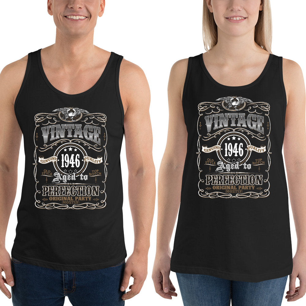 1946 Birthday Gift, Vintage Born in 1946 Tank tops for Women men, 74th Birthday shirt for her him, Made in 1946 Tanks, 74 Year Old Birthday