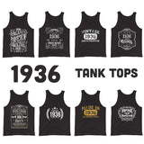 1936 Birthday Gift, Vintage Born in 1936 Tank tops for Women men, 84th Birthday shirt for Her him, Made in 1936 Tanks, 84 Year Old Birthday