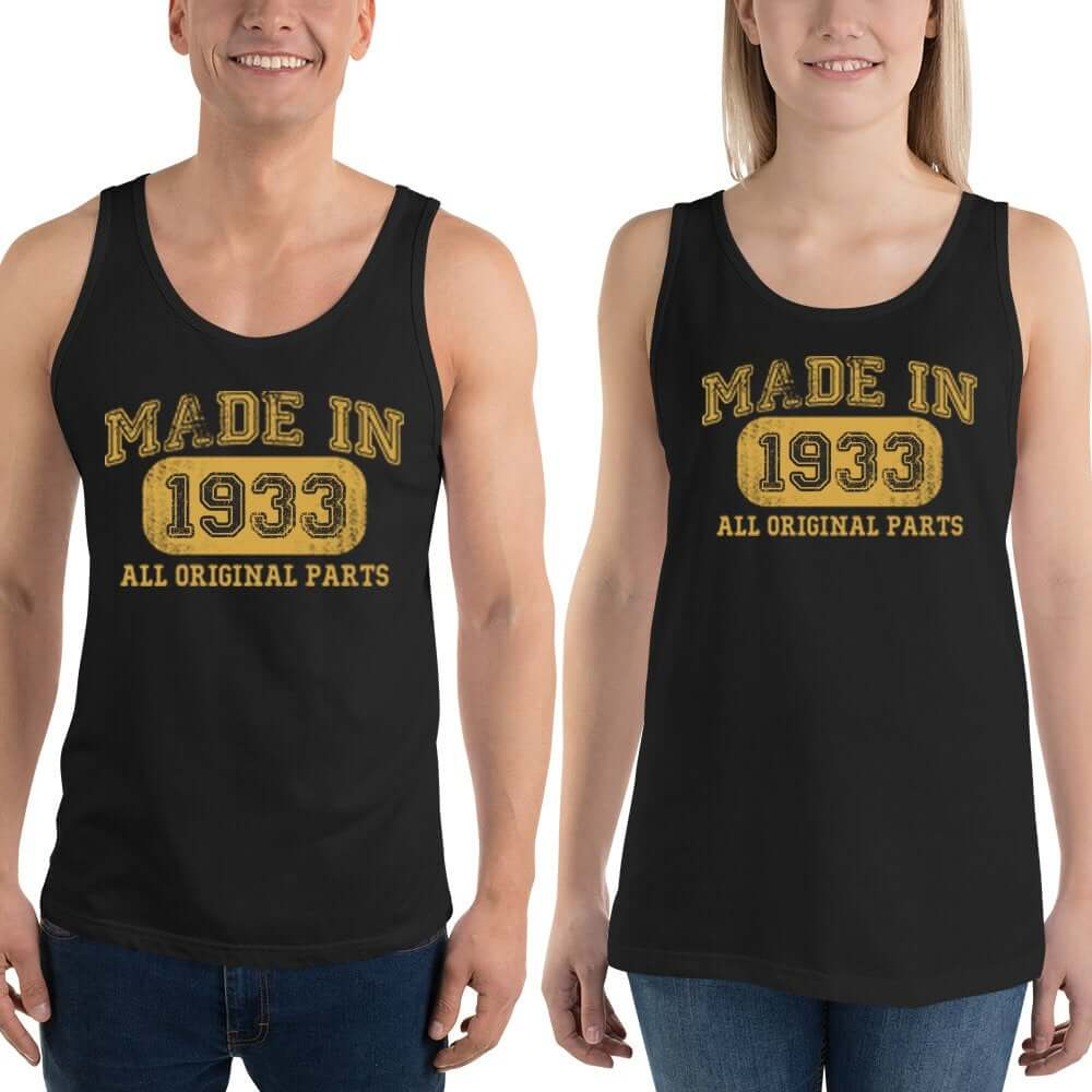 1933 Birthday Gift, Vintage Born in 1933 Tank tops for Women men, 87th Birthday shirt for him her, Made in 1933  Tanks, 87 Year Old Birthday Size: XSDesign: #1Color: Black