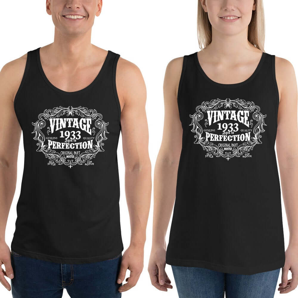 1933 Birthday Gift, Vintage Born in 1933 Tank tops for Women men, 87th Birthday shirt for him her, Made in 1933  Tanks, 87 Year Old Birthday Size: XSDesign: #8Color: Black