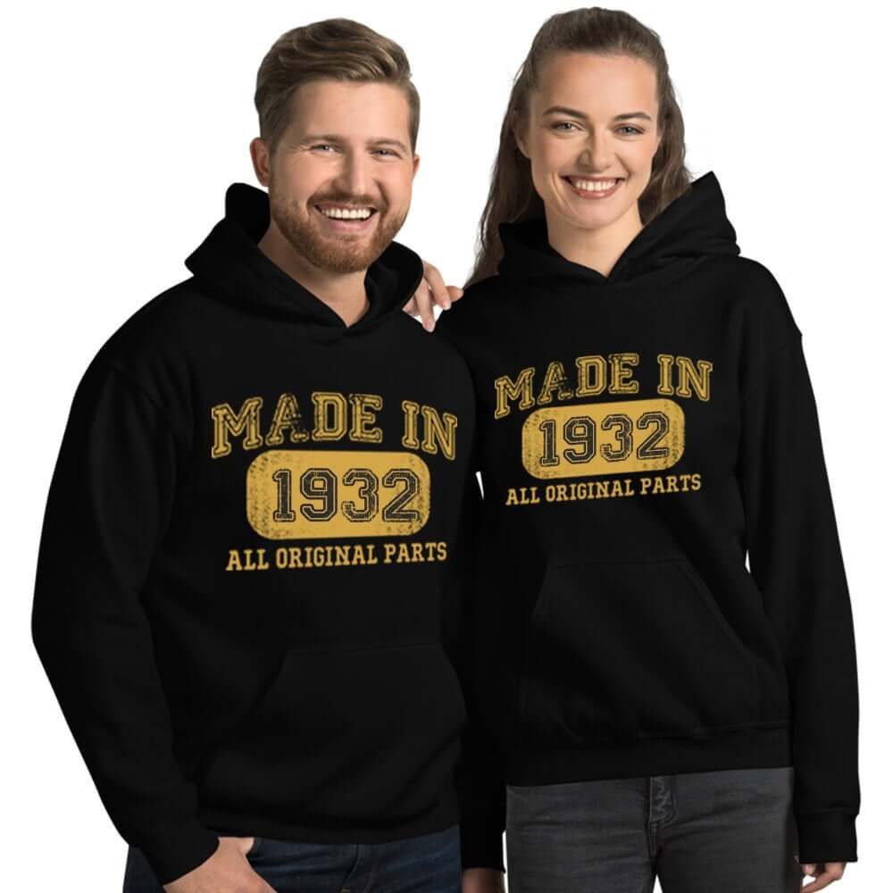 1932 Birthday Gift, Vintage Born in 1932 Hooded Sweatshirt for men women 88th Birthday hoodies for him her, Made in 1932 hoodie 88 Year Old Size: SDesign: #1Color: Black