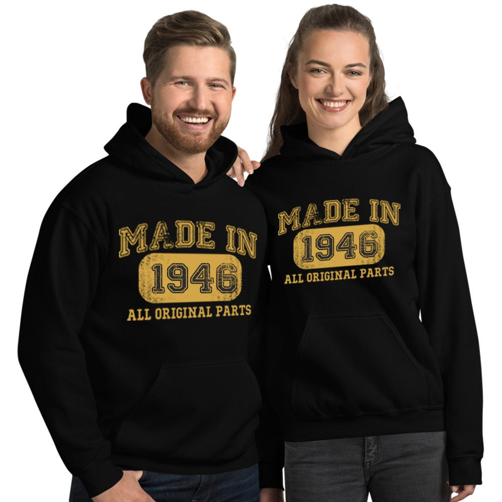 1946 Birthday Gift, Vintage Born in 1946 Hooded Sweatshirt for women men, 74th Birthday Hoodies for her him, Made in 1946 Hoodie 74 Year Old Size: SDesign: #1Color: Black