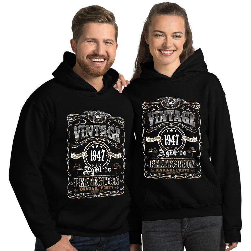 1947 Birthday Gift, Vintage Born in 1947 Hooded Sweatshirt for women men, 73rd Birthday Hoodie for her him, Made in 1947 Hoodies 73 Year Old Size: SDesign: #3Color: Black