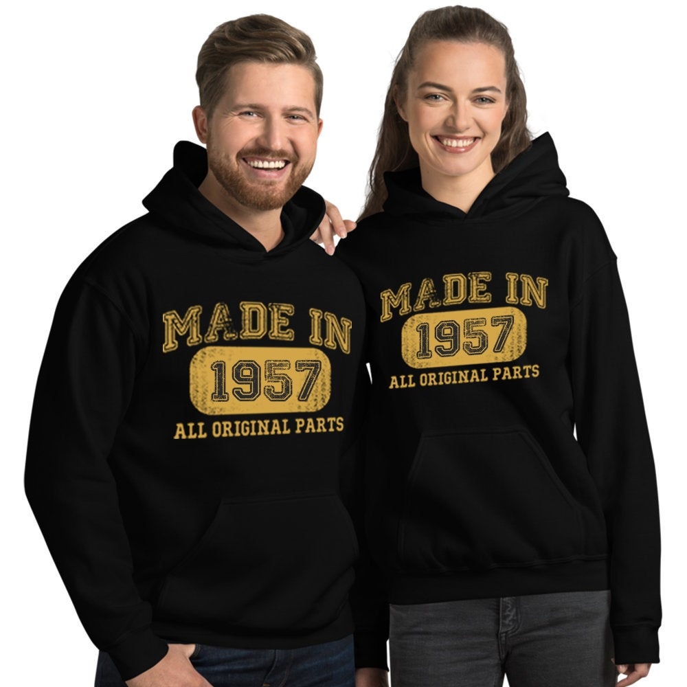 1957 Birthday Gift, Vintage Born in 1957 Hooded Sweatshirt for women men, 63rd Birthday Hoodies for her him, Made in 1957 Hoodie 63 Year Old Size: SDesign: #1Color: Black
