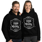 1988 Birthday Gift, Vintage Born in 1988 Hooded Sweatshirt for women men, 32nd Birthday Hoodies for her him, Made in 1988 Hoodie 32 Year Old