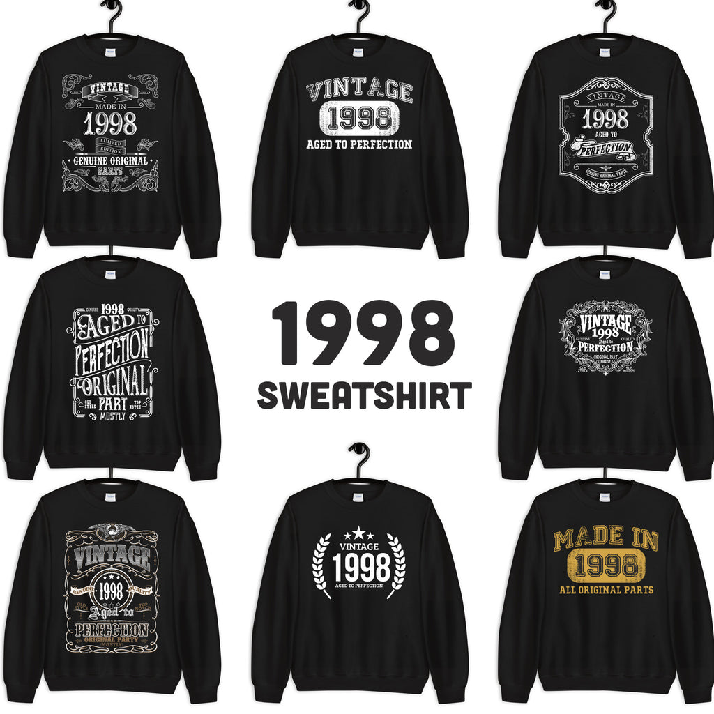 1998 Birthday Gift, Vintage Born in 1998, 22nd Birthday Sweatshirts for men women Made in 1998 T-shirt, 22 Birthday Sweatshirt Custom Size: S, M, L, XL, 2X, 3X, 4X, 5XDesign: #1, #2, #3, #4, #5, #6, #7, #8Color: Black
