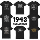 1943 Birthday Gift, Vintage Born in 1943 t-shirt for men, 77th Birthday, Made in 1943 T-shirt, 77 Year Old Birthday Shirt - 1943 Collection