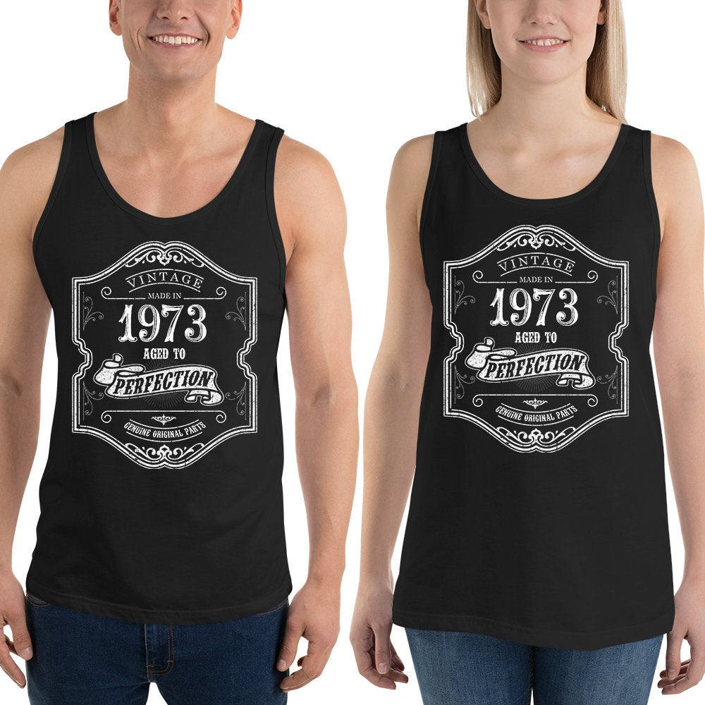 1973 Birthday Gift, Vintage Born in 1973 Tank tops for men women, 47th Birthday shirt for him her, Made in 1973 Tanks, 47 Year Old Birthday