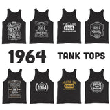 1964 Birthday Gift, Vintage Born in 1964 Tank tops for men women, 56th Birthday shirt for him her, Made in 1964 Tanks, 56 Year Old Birthday Size: XS, S, M, L, XL, 2XDesign: #1, #2, #3, #4, #5, #6, #7, #8Color: Black