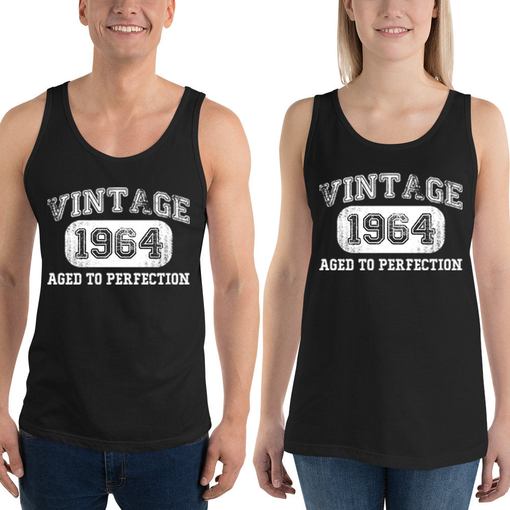 1964 Birthday Gift, Vintage Born in 1964 Tank tops for men women, 56th Birthday shirt for him her, Made in 1964 Tanks, 56 Year Old Birthday Size: XSDesign: #2Color: Black