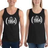 1964 Birthday Gift, Vintage Born in 1964 Tank tops for men women, 56th Birthday shirt for him her, Made in 1964 Tanks, 56 Year Old Birthday Size: XSDesign: #6Color: Black